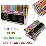 Caliart 200 Coloring Gel Pens Set - 100 Unique Coloring Pens Plus 100 Ink Refills - Non Toxic & Acid Free Gel Pen for Adult Coloring Books Sketching Drawing Painting Writing
