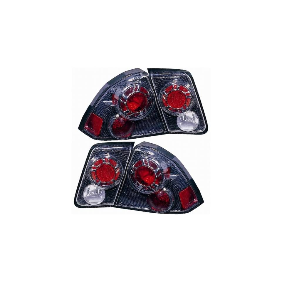 Honda Civic Sedan Replacement Tail Light Assembly (Inner and Outer, Carbon Fiber)   1 Pair