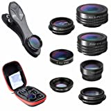 Clip Lens Kit 7 in 1 Zoom Telephoto Lens + Fisheye + Wide Angle + Macro Lens + CPL + Kaleidoscope + Super Wide Lens (Color: 7 in 1)