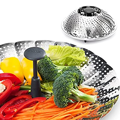 Vegetable Steamer, X-chef Stainless Steel Foldable Food Steamer Basket with Extendable Handle, 6-inch Expands to 11-inch