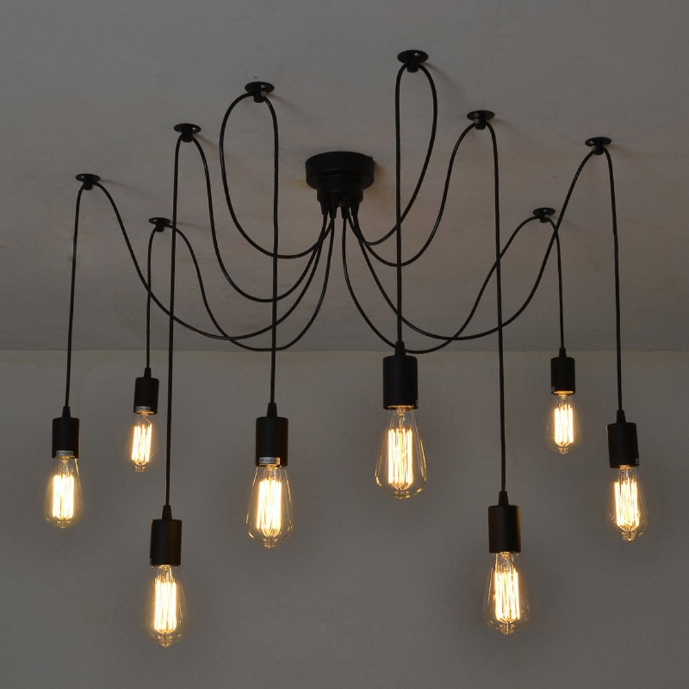 Fuloon Vintage Edison Multiple Ajustable DIY Ceiling Spider Lamp Light Pendant Lighting Chandelier Modern Chic Industrial Dining (8 head cable 150cm/50inch each) 0