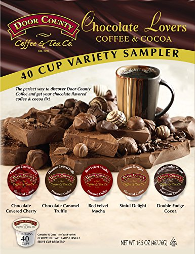 Door County Coffee Chocolate Lovers Coffee & Cocoa Variety Sampler, 40 Single Serve Cups