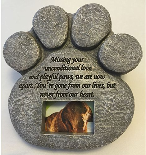 Paw Print Pet Memorial Stone Features A Photo Frame And