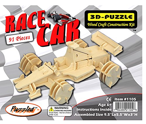 Creatology Wooden 3D Puzzle, Formula 1 Race Car - 9.3 Inches Long (1 Each) - 1