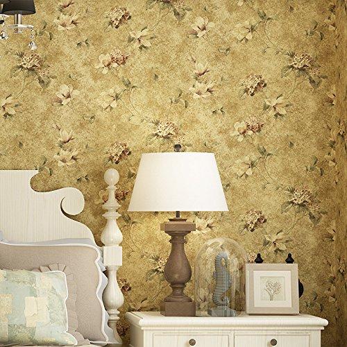 CLOERE Serie del giardino, semplice retrò giallo fantasia decorazione parete e carta da parati in tessuto non tessuto