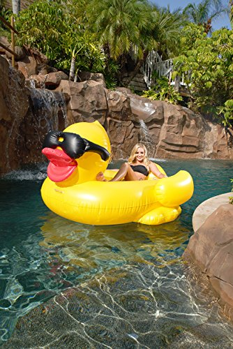 Inflatable Pool Floating Riding Derby Duck Ride On Lounge Summer Outdoor Party