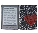 ITALKonline PREMIUM FunkGem RED BLACK LOVE HEART Diamonte Crystals Protective Armour/Case/Skin/Cover/Shell with Screen Protector and MicroFibre Cleaning Cloth for Amazon Kindle 4 6