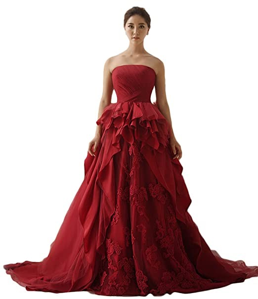 Elle Bridal Red Lace Tulle Colorful Fashion Wedding Dress