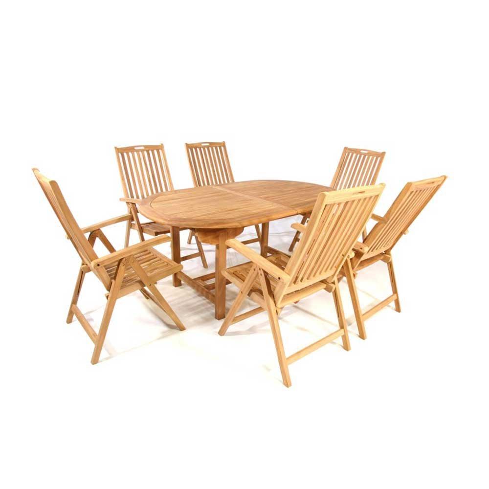 Tischgruppe in Teakfarben online kaufen (7-teilig) Pharao24 jetzt kaufen