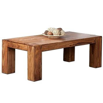 Massiver Couchtisch MAKASSAR 110cm Sheesham Holztisch Beistelltisch Tisch Massivholz