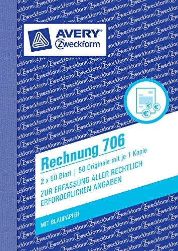 avery zweckform 706 rechnung a6 mit 1 blatt blaupapier 2x50 blatt wei wei. Black Bedroom Furniture Sets. Home Design Ideas