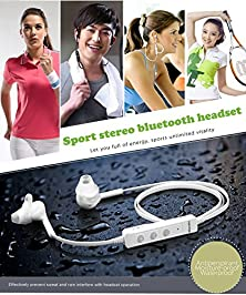 buy Agptek 2015 Newest Bluetooth 4.0 Wireless Stereo Earbuds Earphones Headphones With Noise Cancellation And Voice Control Function For Sports/Running & Gym/Exercise(White)