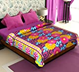Story@Home Coral Collection Soft Printed Fleece Double Bed Blanket, Orange