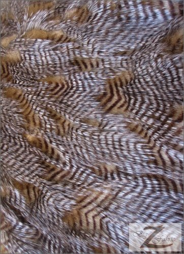 FEATHER FAUX FUR FABRIC - GOLD - LONG PILE 60