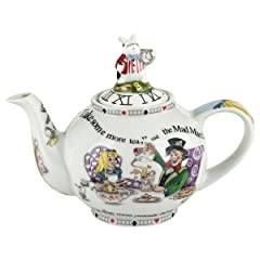 Cardew Alice in Wonderland 2-Cup Teapot with White Rabbit Sculptured Lid, 18-Ounce
