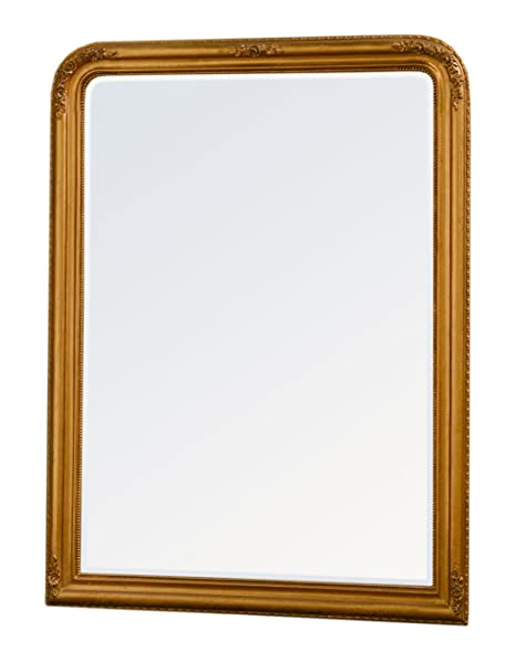 DUSX Louis Philippe Bevelled Mirror with Gold Glitter Leaf, 130 x 6 x 175 cm