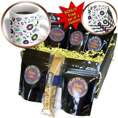 Cgb_128502_1 Janna Salak Designs Music - Antiquated Audio - Retro Records Tapes And Headphones Print - Coffee Gift Baskets - Coffee Gift Basket