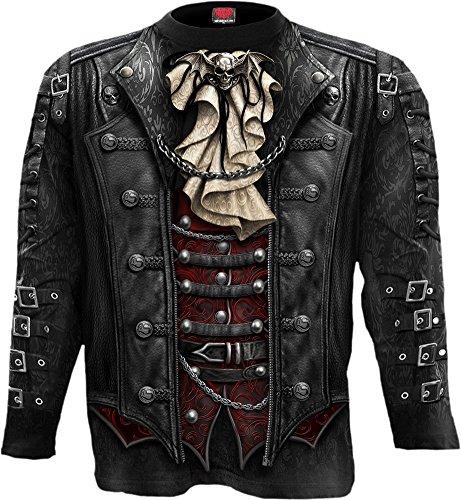 Spiral-Pantaloni Goth Wrap-Allover maglietta maniche lunghe nero Black L