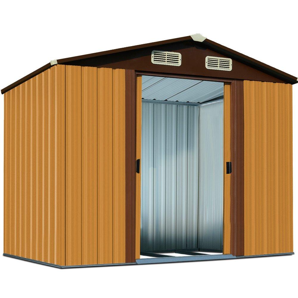 Gerätehaus Metall 210x132x186cm Verzinkt Gartenhaus Geräteschuppen Gartenlaube Metallgerätehaus