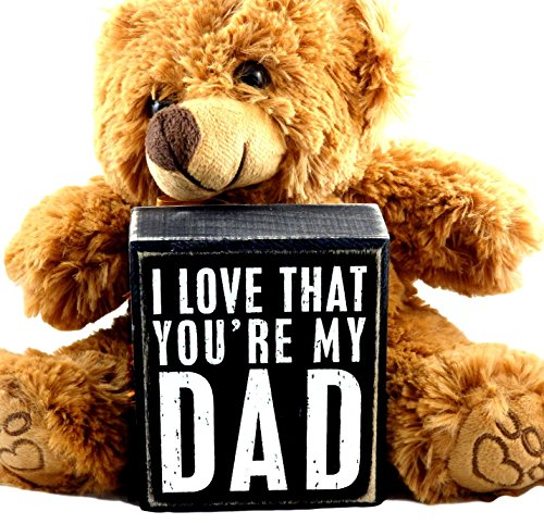 Gifts for Dad From Son or Daughter Kids - Perfect Thoughtful Daddy Christmas Gift Set for Father for Birthday Thank You Christian - Teddy Bear and I Love That You're My Dad Plaque (Always Your Little Girl Frame compare prices)