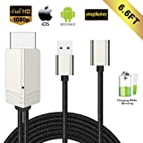 Compatible with iPhone iPad Android Phones MHL to HDMI Cable, WEILIANTE 6.6ft 1080P HD Digital AV Adapter for Phones to TV/Projector/Monitor, Plug and Play (Tamaño: 6.6 Feet)