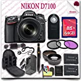 Nikon D7100 Digital SLR Camera with 18-105mm AF-S DX VR ED Lens (Black) + 64GB SDHC Class 10 Card + Wide Angle Lens / Telephoto Lens + 3pc Filter Kit + SLR Camera Backpack + Wireless Remote 20pc Nikon Saver Bundle