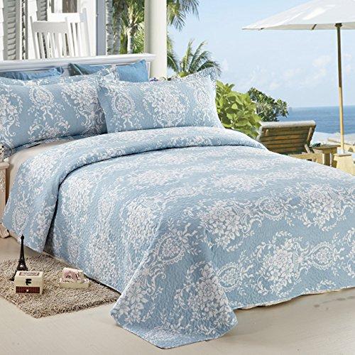c ctn 3pc quilt set reversible printed king size light blue home garden linens bedding. Black Bedroom Furniture Sets. Home Design Ideas