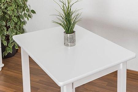 Esszimmertisch 60x90 cm Kiefer massiv, Farbe: Weiß