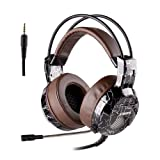 Xbox One PS4 Gaming Headset, 3.5mm Wired with Microphone for PC Over Ear Computer Headphones Volume Control Mic Mute Switch for Laptop, Mac, Tablet, Call Center, Video Conference (Brown) (Color: Brown, Tamaño: 3.5mm jack)