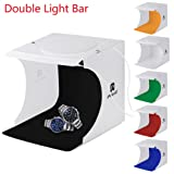 Hometom Portable Photography Studio, Mini Folding Table Top Light Box and Photography Lighting Tent With Upgraded Double LED (Multicolor(With 6 Color Backdrop))