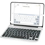 iPad Mini 4 Keyboard Case, iEGrow F04 7 Colors Backlit Slim Aluminum Bluetooth Keyboard with Protective Clamshell Case Cover and 2800 mAh External Battery for iPad Mini 4 Model A1538/A1550(Silver)
