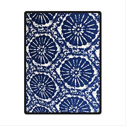 Unique Blue Batik Fabric Design Custom Fleece Blanket 58 X 80 (Large)