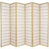 Oriental Furniture Asian Furniture, 6-Feet Window Pane Japanese Shoji Privacy Screen Room Divider, 6 Panel Natural