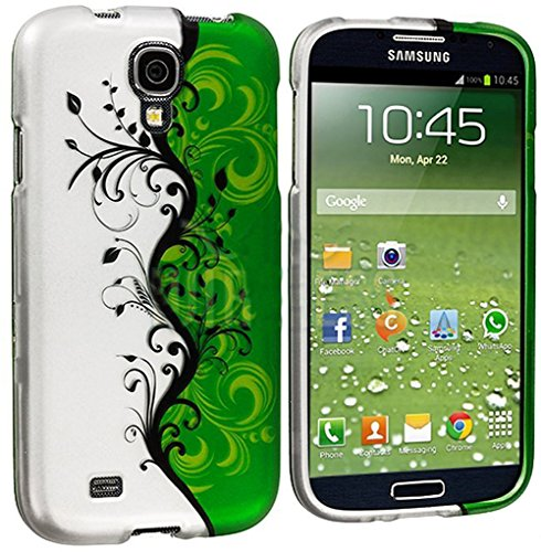 """Mylife (Tm) Black Vines And Green Swirls Series (2 Piece Snap On) Hardshell Plates Case For The Samsung Galaxy S4 """"Fits Models: I9500, I9505, Sph-L720, Galaxy S Iv, Sgh-I337, Sch-I545, Sgh-M919, Sch-R970 And Galaxy S4 Lte-A Touch Phone"""" (Clip Fitted Front"""