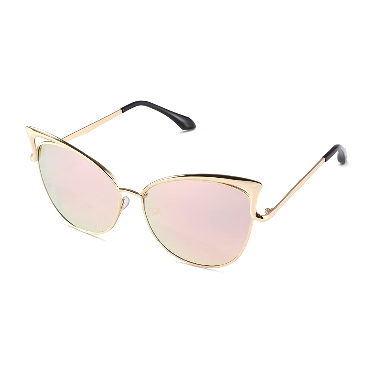 Sunny&Love Women Oversized Cat Eye Sunglasses Mirror Eyewear With Case 0