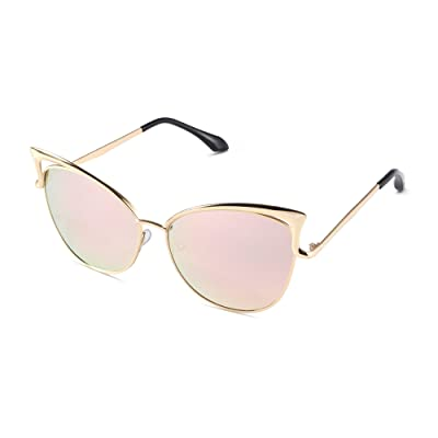 Sunny & Love Women Oversized Cat Eye Sunglasses Mirror Eyewear with Case