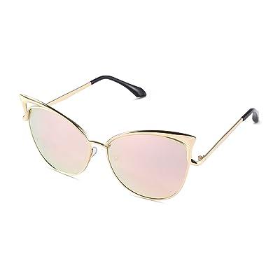 Sunny & Love Women Oversized Cat Eye Sunglasses Mirror Eyewear with Case