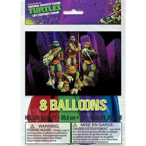 "12"" Latex Teenage Mutant Ninja Turtles Balloons, 8 Count - 1"