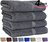 "Utopia 100% Cotton Bath Towels, Easy Care, Ringspun Cotton for Maximum Softness and Absorbency, 4-Pack - Gray (26"" x 52"")"