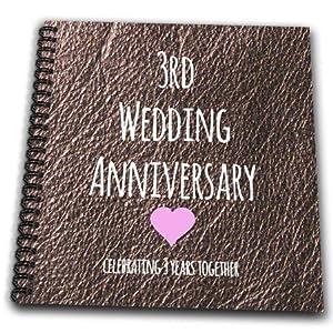 3rd Wedding Anniversary Gift Ideas Uk : 3dRose db_154430_2 3rd Wedding Anniversary Gift Leather Celebrating ...