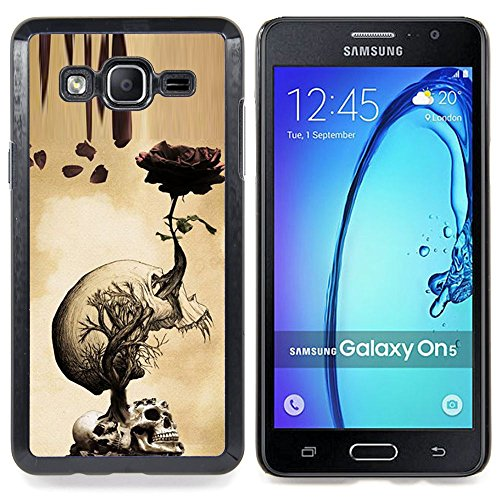 Queen Pattern - FOR Samsung Galaxy On5 SM-G550FY G550 - Rose Skull Metal Rock Roll Death Beige - Impact Case Cover with Art Pattern Designs (Hard Rock Har compare prices)