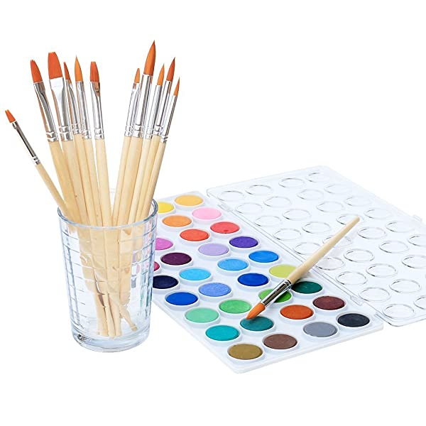 Watercolor Artist set, 36 Colors, Includes a Variety of 12 Quality Brushes, Everything You Need to Get Started! Brushes Works Great For Watercolor and Acrylic (Watercolor Pan) (Color: Watercolor Pan)