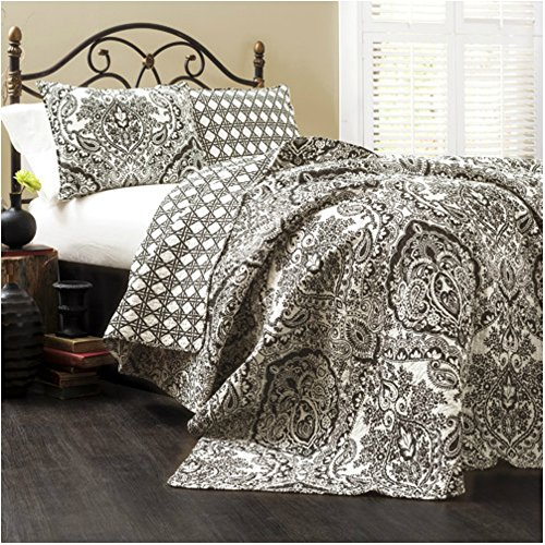 Soft & Lightweight Modern Damask Print Quilt Set for Contemporary Bedroom - King Size (Modern Quilts King Size compare prices)