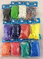 Lot de 3600 Elastiques Caoutchouc + 12 crochets + 144 Crochets Clips S - Pour Métier à Tisser (Loom) Bracelet - 18 sachets DE 12 couleurs - 100% compatible arc Loom, Cra-Z-Loom et Autres kits profilent - 3600 bandes.