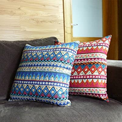 Pair of Bohemian Style Red and Blue Pattern Decorative Pillows 45CMx45CM Linen Cover Throw Pillows discount price 2015