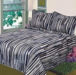Fancy Collection 3pc Bedspread Stripes Navy Blue Brown Beige New (King)