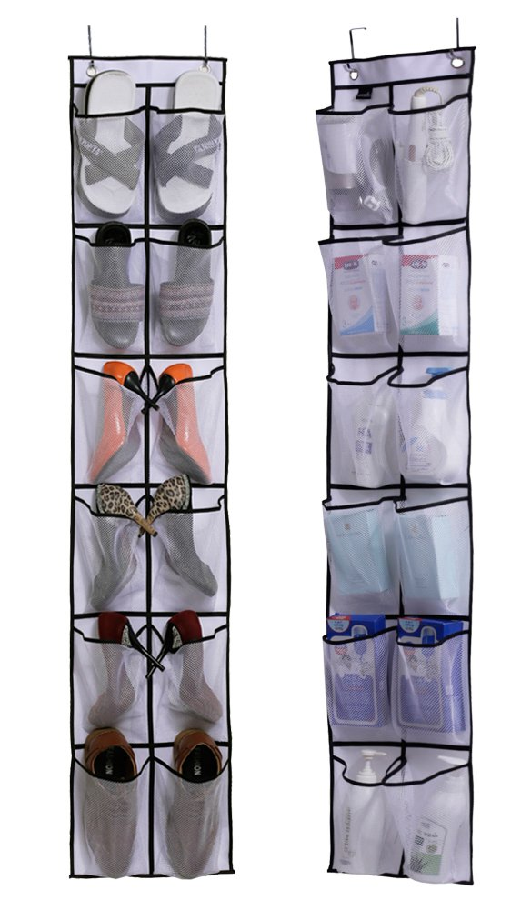 Misslo Over The Door Shoe Organizer 12 Large Mesh Pockets Hanging Narrow Closet Door, White, 2 Pack