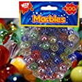 100 x CLASSIC RETRO GLASS COLOURED MARBLES KIDS TOYS PARTY BAG FILLERS STUFFERS