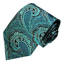 LORENZO CANA - Luxury Italian 100% Pure Silk Tie Woven Handmade Black Turquoise Paisley Necktie - 84427