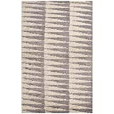 Jaipurrugs Handmade Textured Wool Gray/Ivory Vertigo Rectangle Shag Border Color White 8x10
